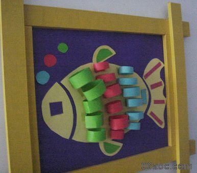 幼儿园数学环境_幼儿园玩教具手工制作:可爱的小鱼-- 分类导航 - 浙江学前教育网