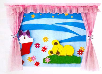"""> 幼儿园睡眠室布置:卧室墙面""""宝贝,睡吧""""   o:大大的鞋子上托着一只"""