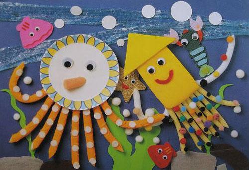 幼儿园墙面设计图片:章鱼和墨斗鱼;