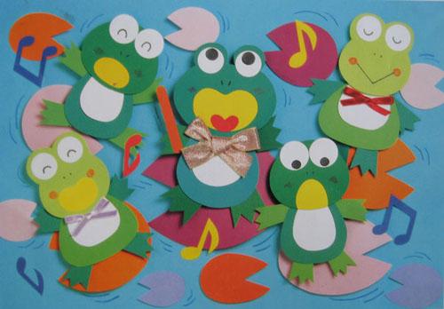 幼儿园墙面立体手工布置:青蛙乐队