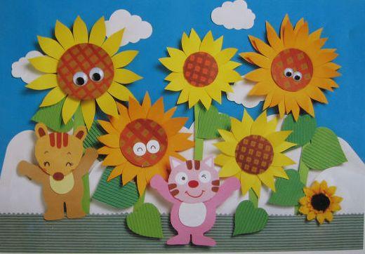 幼儿园立体纸工:向日葵