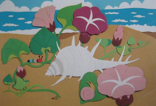 幼儿园墙面布置:海螺和牵牛花