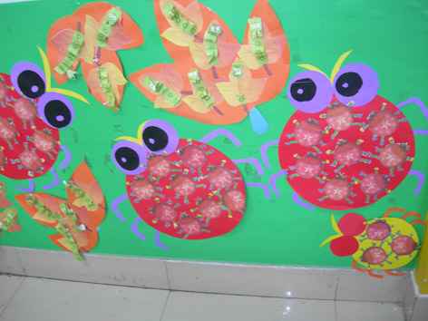 幼儿园墙面布置:七星瓢虫捉害虫