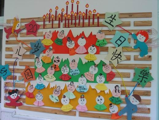幼儿园墙面布置:生日快乐