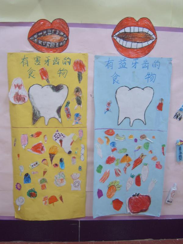 幼儿园环境布置:牙齿和食物墙面