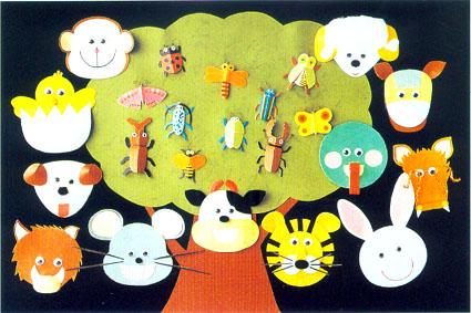 幼儿园立体手工纸雕:动物造型