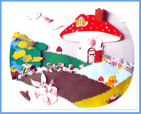 幼儿蘑菇房子简笔画