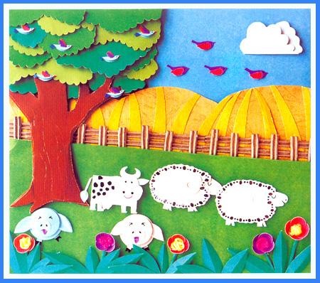 幼儿园手工立体纸雕:在农场里