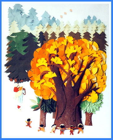 幼儿园手工立体纸雕:一棵树
