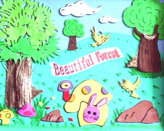 森林幼儿简笔画彩色