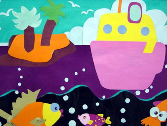 墙面布置——美丽的海岛-幼儿园环境布置图片- 专题