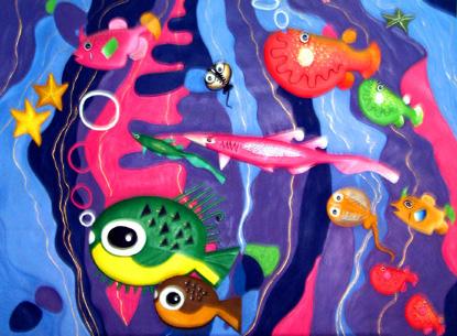 水粉画:海底世界