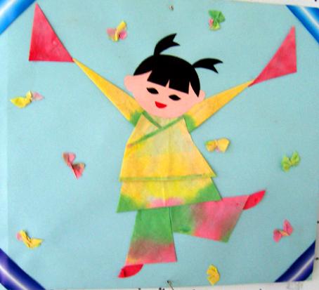 北京永东幼儿园墙饰手工作品——跳舞小娃