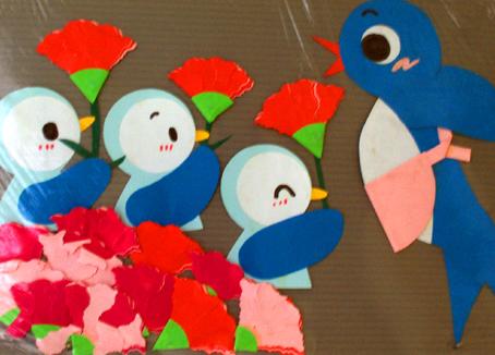 北京永东幼儿园墙饰手工作品——小鸟的一家