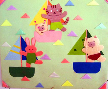 北京永东幼儿园墙饰手工作品——帆船比赛