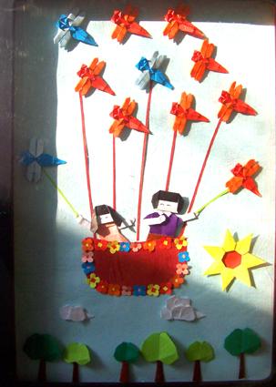 北京永东幼儿园墙饰手工作品——热气球