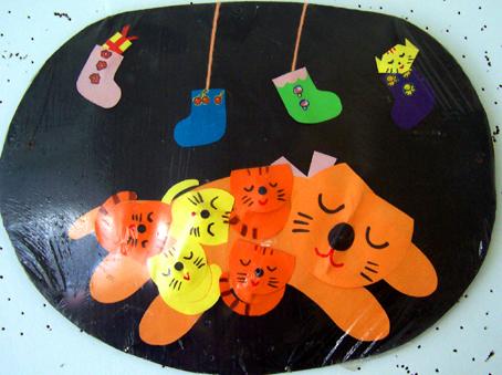 北京永东幼儿园墙饰手工作品:老虎和小虎