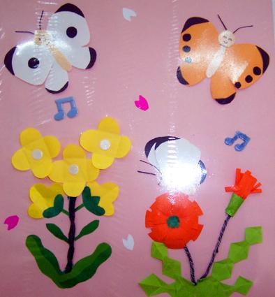 北京永东幼儿园墙饰手工作品:花与蝴蝶