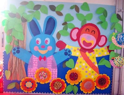 幼儿园环境布置:小动物6(墙面)-幼儿园主题墙-图片