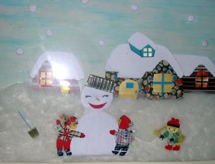 幼儿园环境布置:冬天墙面布置6 堆雪人