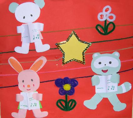 幼儿园墙面布置:小白兔学唱歌