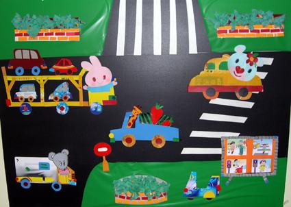 幼儿园环境布置:动物交通(墙面)-幼儿园主题墙-图片