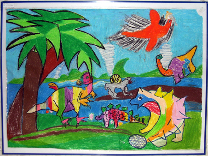 幼儿园墙面设计:恐龙