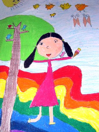 幼儿园大班美术作品 跳舞的小女孩