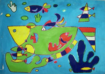 幼儿园油水分离画:海底世界