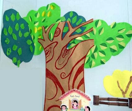 幼儿园墙面布置:树伞