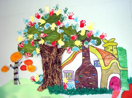 幼儿园环境布置图片:可爱的手掌花