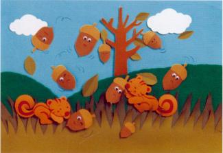 幼儿园环境布置:小松鼠搬橡子图片