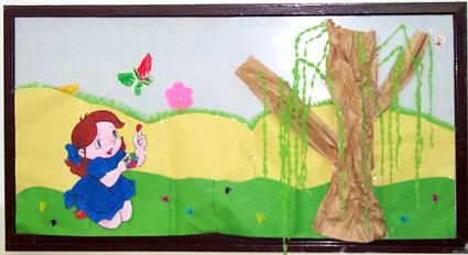 幼儿园墙面布置:女孩和蝴蝶