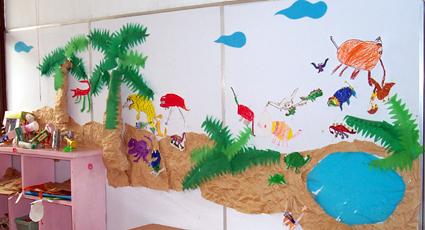 幼儿园墙面布置:海滩