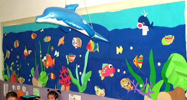 幼儿园墙面布置:神奇的海底世界1