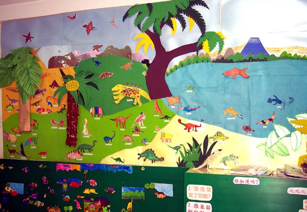 幼儿园墙面布置:动物-幼儿园主题墙-图片