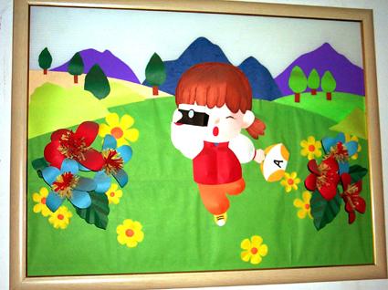幼儿园环境布置图片2; 中班益智区墙面; 幼儿园环境布置2:小女孩