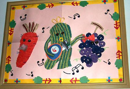 幼儿园墙面布置:水果音乐会