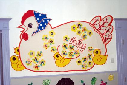 幼儿园墙面布置:我们的鸡宝宝-幼儿园主题墙-图片
