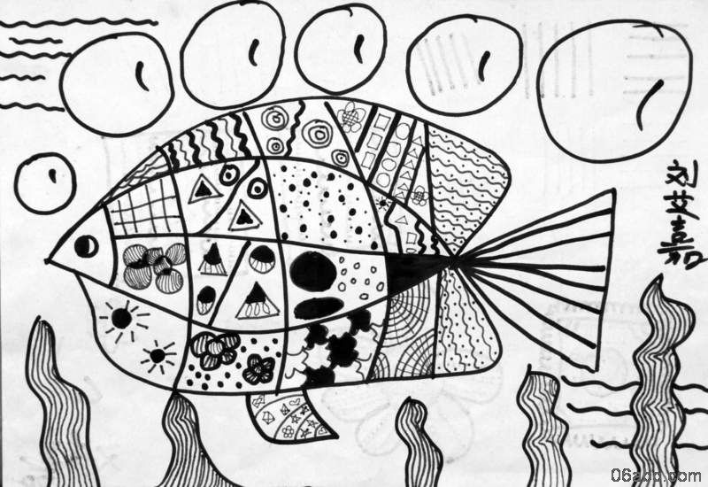 中班亲子手工教案_幼儿作品:线描画-鱼-- 分类导航 - 浙江学前教育网