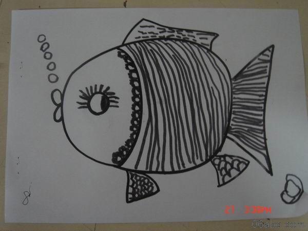 幼儿作品:线描画-鱼-绘画-图片- 资源下载 - 浙江学前