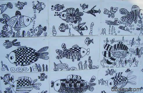幼儿作品:线描画-鱼