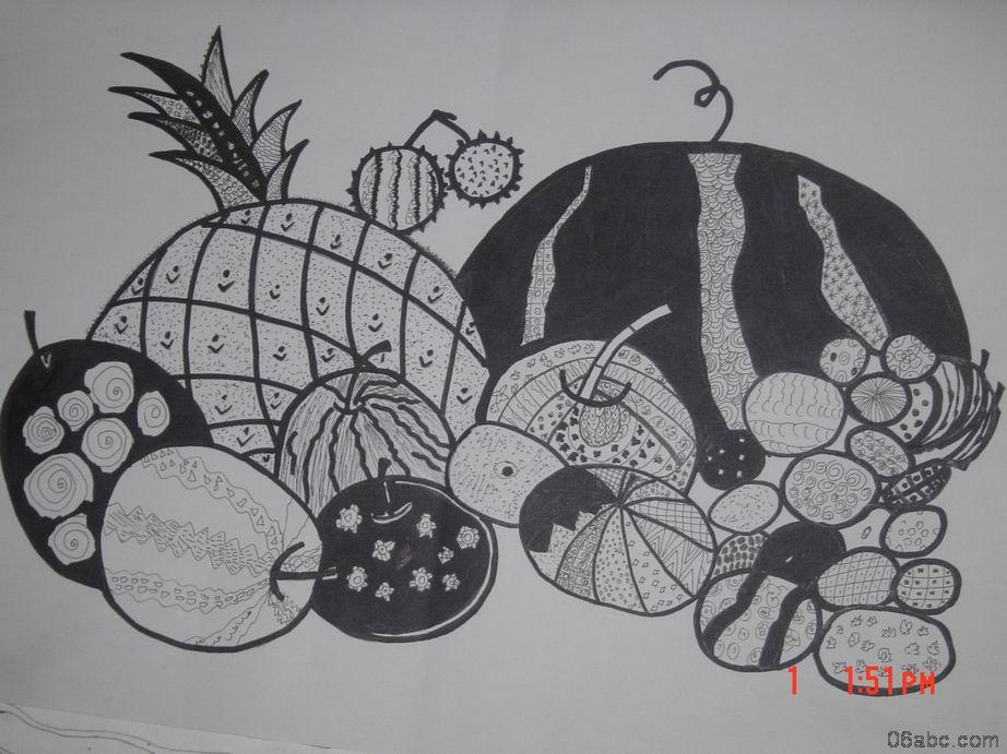儿童线描画 水果组合