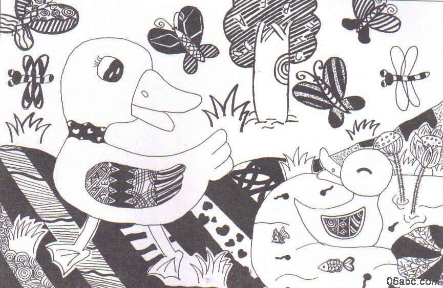 跟我学儿童线描画:悠闲的小鸭图片