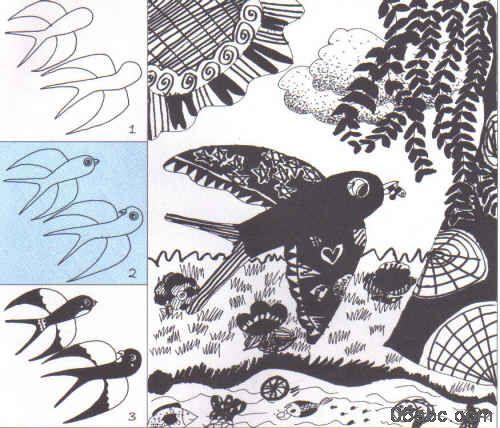 儿童创意线描画:小燕子和春天