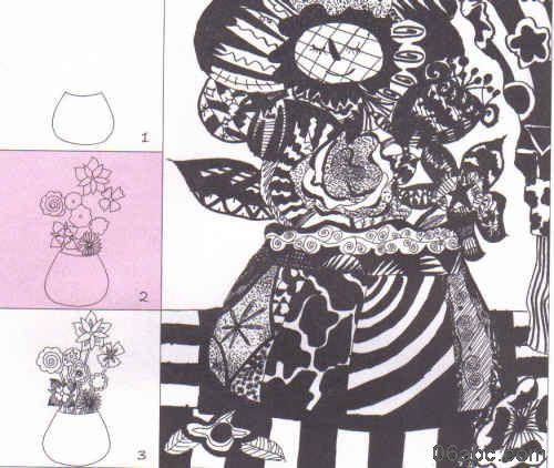 儿童线描画教学:小动物的聚餐