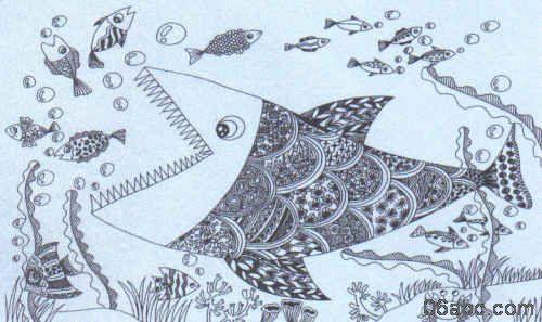 张大嘴巴小动物的的简笔画