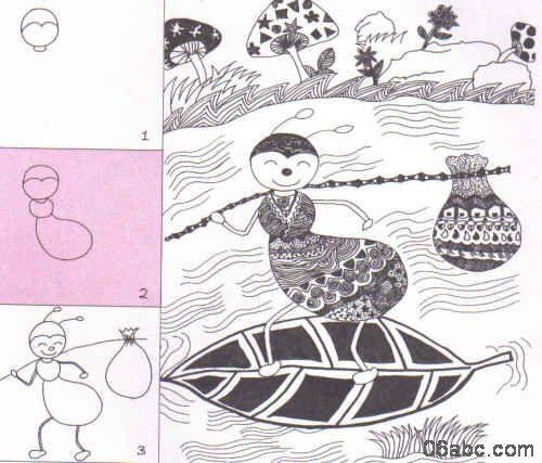 跟我学儿童线描画:忙搬运的小蚂蚁