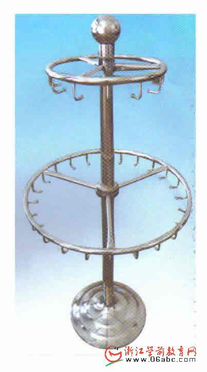 不锈钢移动圆形双层幼儿园毛巾架/水杯架
