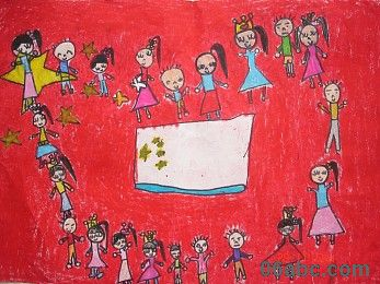国庆节手工画; 幼儿园大班美术作品:国庆节的天安门